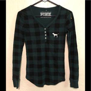 VS PINK Green Plaid Thermal Long Sleeve Shirt XS